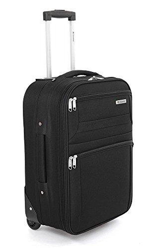 Traveller Basic Kleiner Stoffkoffer für Damen / Herren, 2 Rollen Koffer - 36x23.5x50 – S (42L), Schwarz