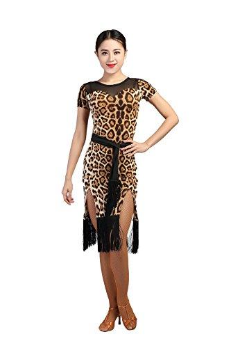G3012 Latin Tanz Garn-verbundene Seiten-Spaltung Quaste Kleider angeboten von GloriaDance (leopard, (Erwachsene Für Tanz Kostüme Ballsaal)