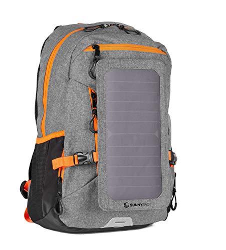 SunnyBAG Solar Rucksack Explorer integriertem 6 Watt Solar Paneel und USB Anschluss, hellgrau-orange