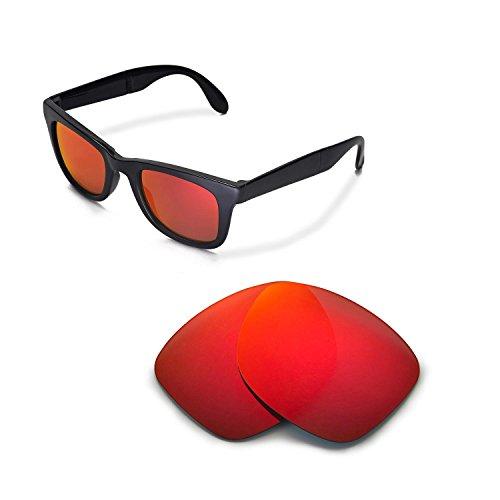 Walleva Ersatzgläser für Ray-Ban Wayfarer RB2140 50mm Sonnenbrille - Mehrfache Optionen (Feuerrot Mirror Coated - Polarisiert)