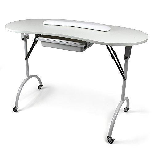 Table manucure domicile pliante Favignana Blanc Sur roulettes Longueur = 110cm Largeur = 46cm...