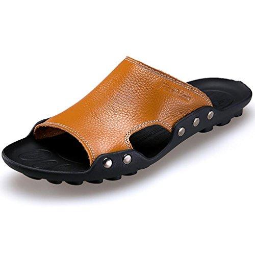 SHANGXIAN Cranio di uomo estate Flip infradito sandali di cuoio casuali Brown