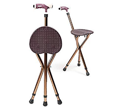 GEER Stativ Spazierstock und Sitzklapp Leichte Cane Sitz Eisen Wanderstöcke Tragbarer Stuhl Tripod Travel Chair Hocker für ältere Menschen, Angeln im Freien, Höhenverstellbar