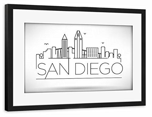 artboxONE Poster mit Rahmen Schwarz 45x30 cm Minimal San Diego Skyline von Kursat Unsal - gerahmtes Poster -