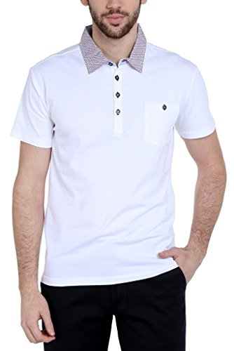 Dream of Glory Inc. Men's Branded Half Sleeve Cotton Club Polo Geo Printed Collar and Pocket T-Shirts for Men Also in Plus Sizes : XS-8XL
