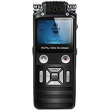 EIVOTOR 8GB Registratore Vocale Digitale Portatile Supporta MP3 con Microfono Stereo