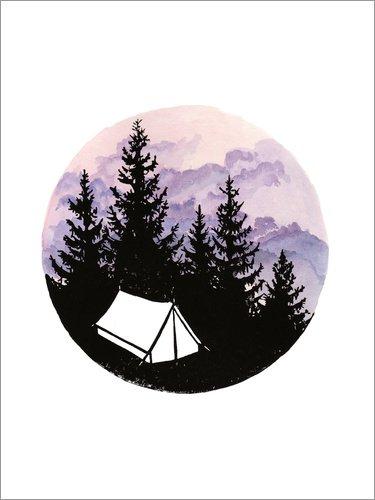 Forex-Platte 90 x 120 cm: Zeltchen mit lila Wolken von Dominique Fischer