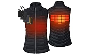 CONQUECO Women's Heated Vest Lightweight Slim Fit Gilet Coat With Battery Pack L