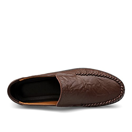 Minitoo Boys Mens Rubble Sole Casual Daily Loafers Coffee
