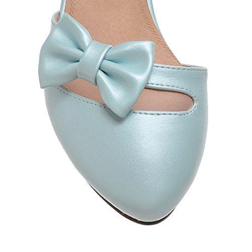 AllhqFashion Femme Rond Boucle Pu Cuir Couleur Unie à Talon Correct Chaussures Légeres Bleu