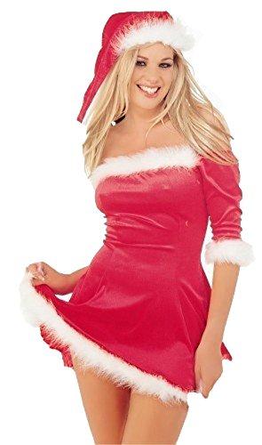 nieuwe dames rood fluweel sexy santa outfit jurk hoed vrouwen kerst fancy dress met hoed maat s-m-l-xl (S)
