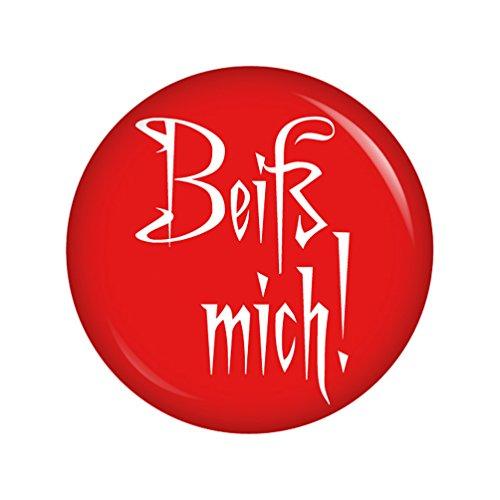 eiß mich! 37mm Button Ansteckbutton für Fasching Karneval Halloween Party und Feiern (Diy Kostüme Für Mich)