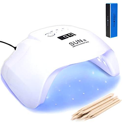 lampada led unghie fornetto uv da 48w / 54w (36 led) professionale 5 timer con sensore (mani e piedi) lampada per semipermanete e kit gel uv forno asciuga smalto lamp sunuv x fornetto unghie bianco