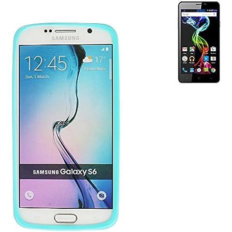 respingente de Silicone cassa / anello di copertura di TPU per Archos 55b Platinum, turchese / blu | protettivo in gomma protezione del telaio per Smartphone - K-S-Trade (TM)