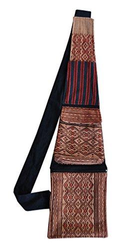 virblatt Schultertasche Umhängetasche aus Hanf mit vielen praktischen Taschen und handgewebten Mustern asiatischer Bergstämme - Erfinderisch