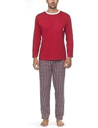 Herren Schlafanzug mit Rundhals-Ausschnitt, Brusttasche und karierter Hose - Moonline