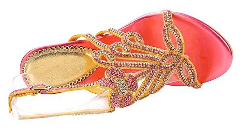Honeystore Damen's Pfau Blumen geformt Pattern Stöckel Absatz Handgemacht Strass Sandalen Rot