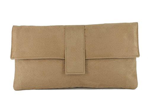 Fab großen Faux Wildleder Clutch Bag/Schultertasche In Camel-Beige -
