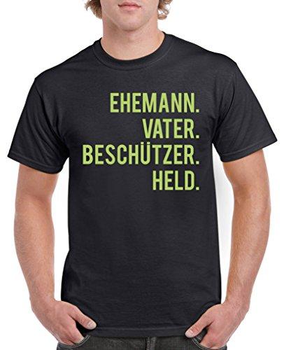 Comedy Shirts - Ehemann. Vater. Beschützer. Held. - Herren T-Shirt - Schwarz/Grün Gr. L Du Beschützer
