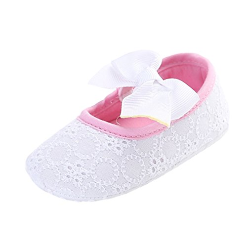 Leap Frog  Lace Mary Jane, Baby Mädchen Lauflernschuhe Weiß/Rosa