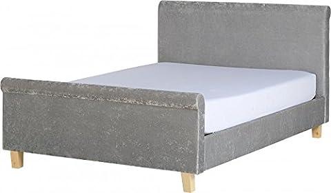 Shelby 4'15,2cm Schlitten Bett Hohe Fußteil Modern Grey Crushed Velvet (Bunk Rails)