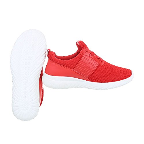 Sneakers Estate casual rosse con stringhe per donna
