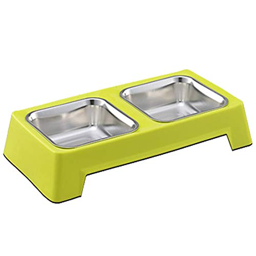 XIAOXUE Dog Bowl Cat Bowl Pet Food Bowl Health and Durable Wear-resistente Square Edelstahl Single Bowl Double Bowl,Green,L Green Square Platte
