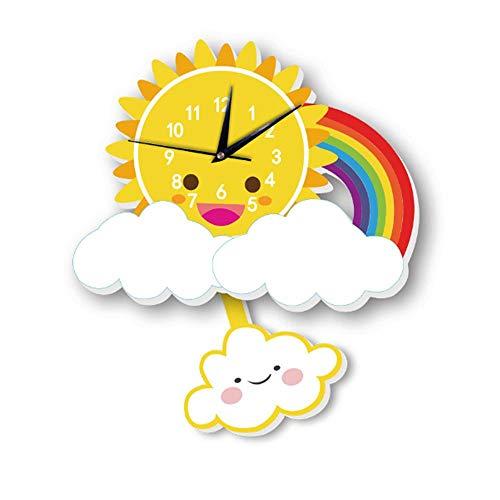 AOLVO Reloj de Pared de Dibujos Animados para Niños Sol y Viento Reloj de Pared de Dormitorio Infantil Reloj de Cuarzo Silencioso para Bebés, Adolescentes, Niños - Mejores Regalos