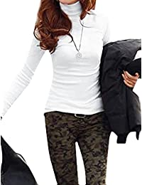 sourcingmap Mujer Cuello Alto Manga Larga Jersey Corte Slim Casual camiseta