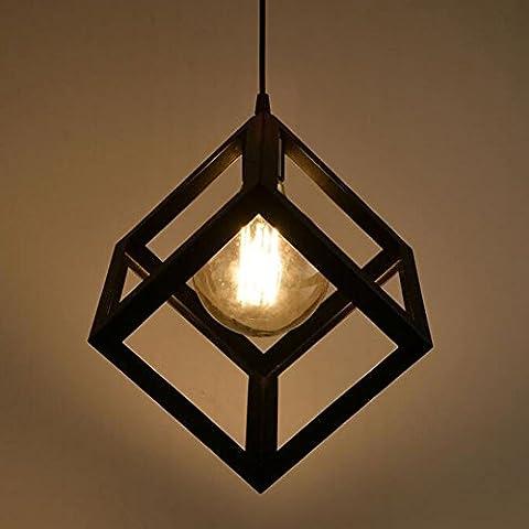 Vintage industriel lampe de plafond, forme de cube Abat-jour en métal Loft rétro lampe suspendue Luminaire Droplight pour café Bar de cuisine, Noir (E27Ampoules non incluses)