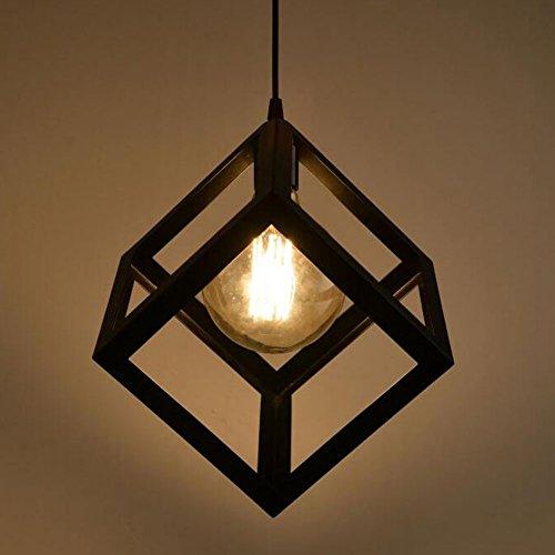Lembeauty Lustre/suspension en forme de cube de type industrielle Style vintage, teinte métallique noire Idéal pour café, bar ou cuisine Ampoules E27 non incluses