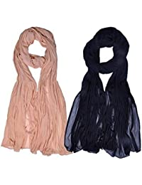 [Sponsored]Womens Cottage Combo Pack Of 2 Solid (Plain) Pure Chiffon Dupatta With Pom Pom Laces