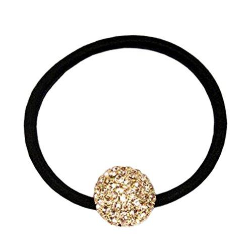 Stylish Damen Kopfschmuck Elastik Haar Krawatten Haar Band Kristall Ball Champagner
