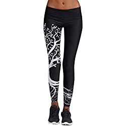 Women Sports Long Trousers SMARTLADY Tree Pattern Leggings for Running, Yoga and Exercise (M, Black)