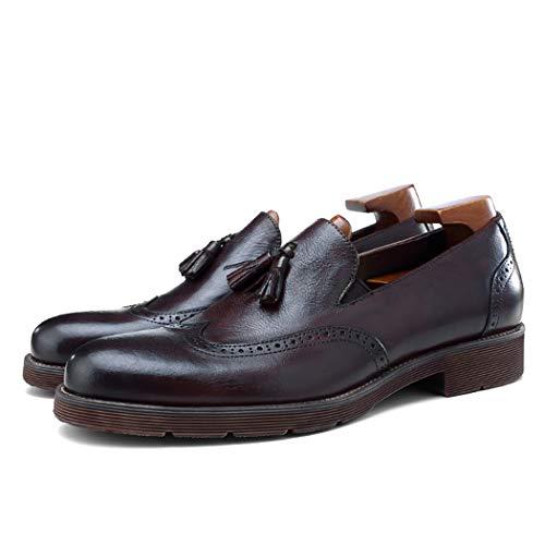 MYXUAA Herren Brock Loafers Fashion Fringe Retro-Lederschuhe bequemes Fahren Schuhe-black-EU40/US8/UK7 -