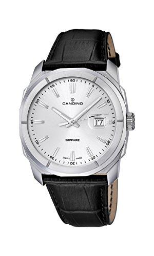 Candino Herren Armbanduhr mit silber Zifferblatt Analog-Anzeige und schwarz Lederband C4586/1