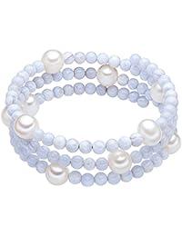 Valero Pearls - Bracelet en pierres précieuses - Perles de culture d'eau douce - Fil en acier inoxydable - Bijoux de perles agate, bracelet agate, bijoux en acier inoxydable - 60200805