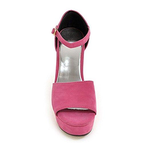 TAOFFEN Femmes Elegant Peep Toe Sandales Bloc Talons Hauts Sangle De Cheville Chaussures Rose Rouge