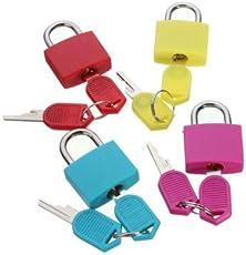 RainSound Travel Metal Mini Padlock with 2 Keys(Multicolour) - Set of 4
