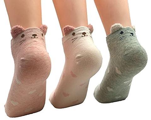 FLYCHEN 3 paires Femme Chaussettes Coton Fantaisie Socquette Imprimé Mignon Animaux (taille unique,Chat)