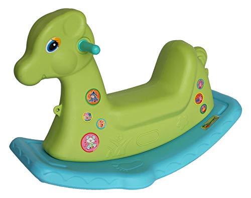Clamaro 'Tiny' Kinder Schaukelpferd ab 1 Jahr (grün/blau) für Jungen und Mädchen aus wetterfestem und UV-bestädigem Kunststoff, für drinnen und draußen im Garten geeignet