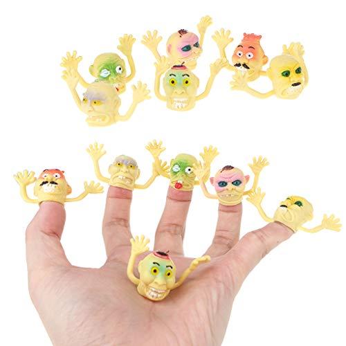 sunhoyu Neuheit Plastik Tier Spielzeug ,Halloween Party Trick Spielzeug, 6 Teile / Satz Ghost Fingerpuppe Halloween Horror Monster Puppe PVC Erzählen Geschichte Spielzeug Für Kid