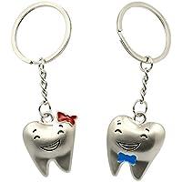 Primi 1 par plateado Amantes de la METAL dientes colgante llavero clave Anillo Ornamento colgante accesorios