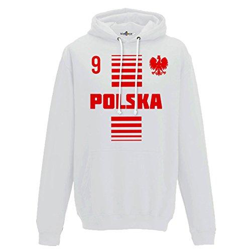 Felpa Cappuccio Uomo Nazionale Sportiva Polonia Polska 9 Calcio Sport Europa Aquila 1 KiarenzaFD Streetwear Arctic White