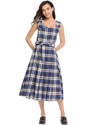 Meaneor Damen Vintage Midi Kariertes Kleid ALinie mit Gürtel ...