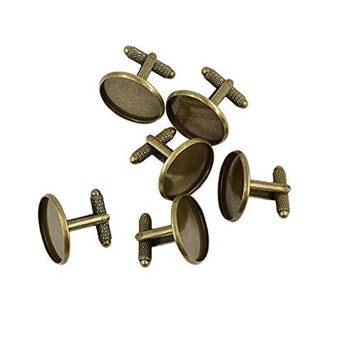Sharplace 6pcs Boutons de Manchette Réglages Ronde Base DIY Ajouter Perle Cristal Pierre de Jeu Bijoux - Bronze