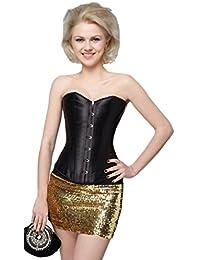 aimerfeel simples corset en satin noir classique,Taille 36,38,40,42,44,46,48,50,52
