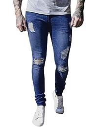 ab5ba2d473ef0 Pantalones de Hombre Súper Delgado Tramo Mezclilla Biker Jeans Destruido  Grabado Ajustado Derecho Vendimia Casual Pantalones