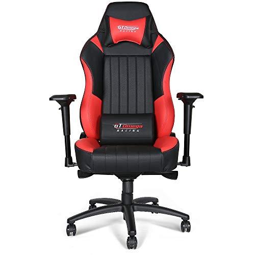 GT Omega Racing EVO XL - Silla de Oficina, Deportiva, Cuero Negro y Rojo