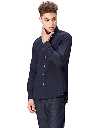 FIND Herren Oxford-Hemd, Blau (Navy), Large (Herren Hemd Oxford)